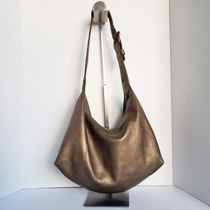 Roots bronze leather hobo shoulder bag